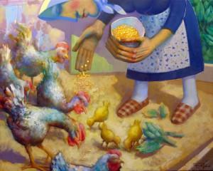 Dando-de-comer-a-las-gallinas81x65